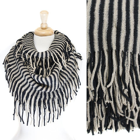 Black White Stripe Knit Infinity with fringe Scarf