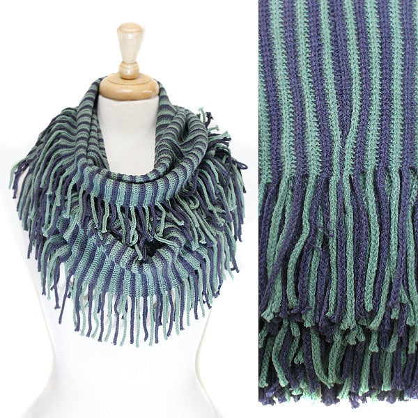 Blue Green Stripe Knit Infinity with fringe Scarf