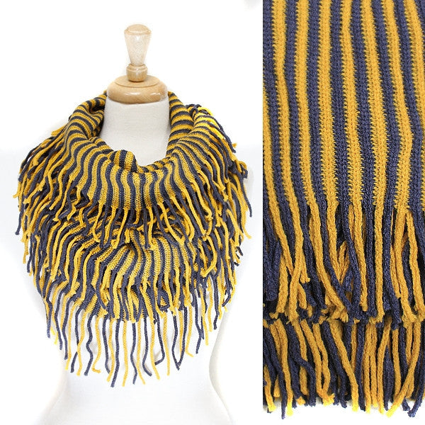 Yellow Blue Stripe Knit Infinity with fringe Scarf