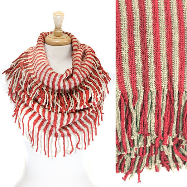 Rust Tan Stripe Knit Infinity with fringe Scarf