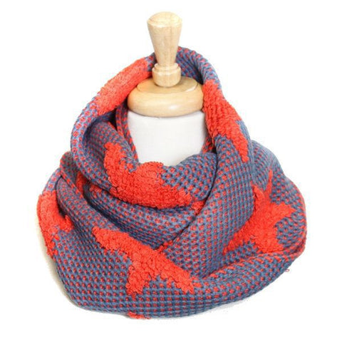 Bold Orange Star Knit Infinity Scarf