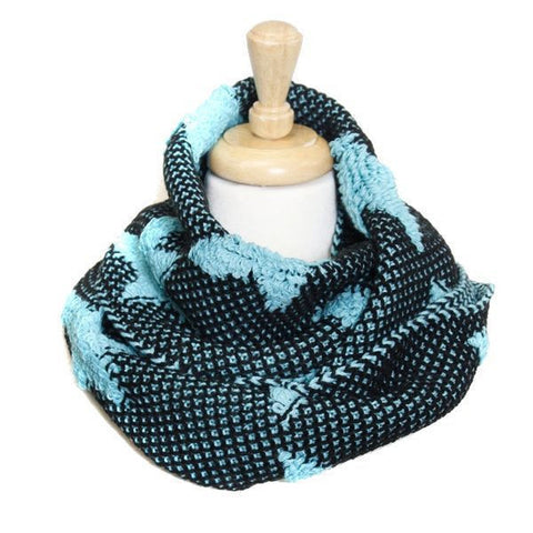Bold Teal Star Knit Infinity Scarf