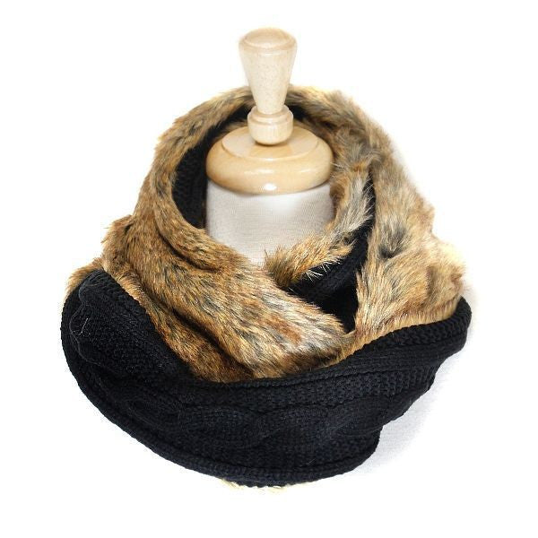 Reversable Black Faux Fur Cable Knit Infinity Scarf