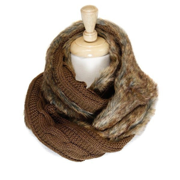 Reversable Brown Faux Fur Cable Knit Infinity Scarf