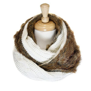 Reversable White Faux Fur Cable Knit Infinity Scarf