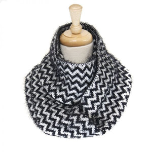 Fluffy Black Chevron Pattern Infinity Scarf