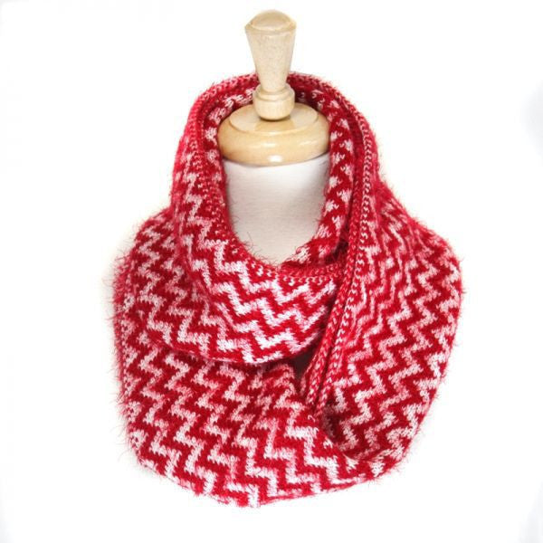 Fluffy Red Chevron Pattern Infinity Scarf