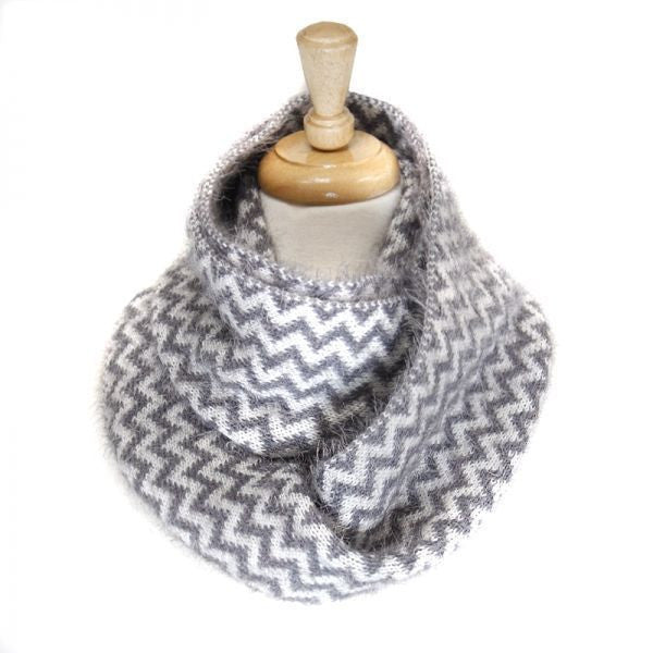 Fluffy Grey Chevron Pattern Infinity Scarf