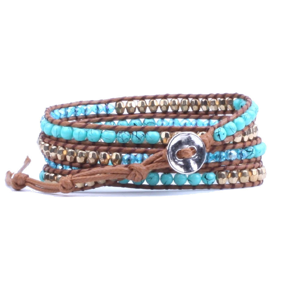 Multiple Turquoise Gold Crystal Beaded Wrap Leather Bracelet