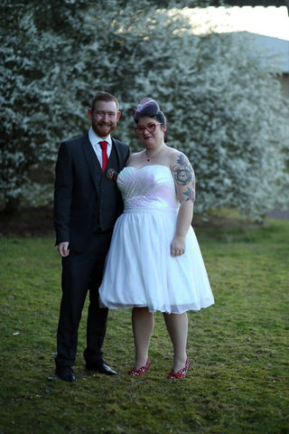 Rockstars and Royalty blog real bride Roxy customisable sequin wedding dress