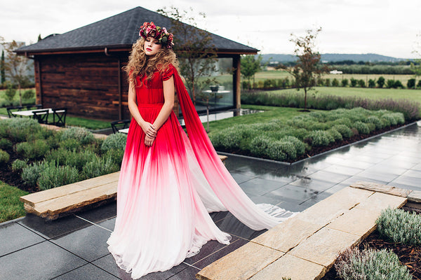 Rockstars and Royalty red and white ombre couture wedding dress gown