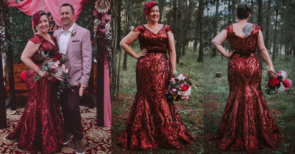 Rockstars and Royalty couture bride red sequin wedding dress