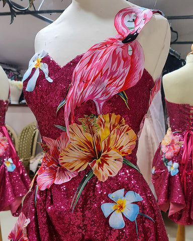 Jazida pink sequin dress with flowers and flamingos