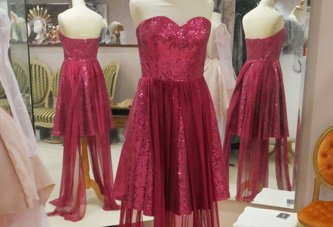 Pink sequin strapless dress by Rockstars and Royalty