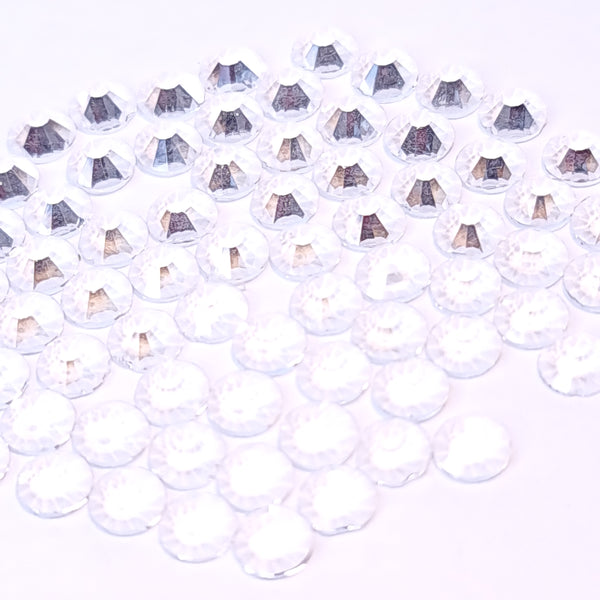 Transparent clear non-hotfix flatback glass rhinestones