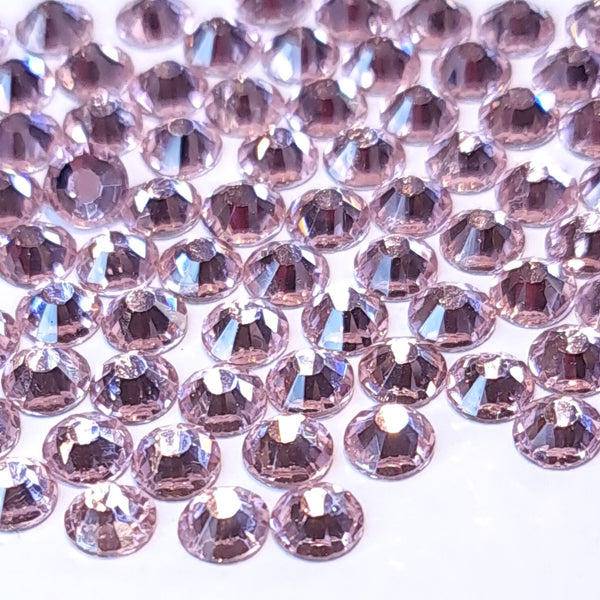 Light rose pink non hotfix flatback glass rhinestones