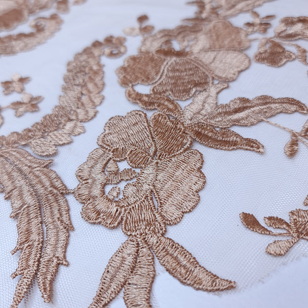 Dark gold embroidered floral applique