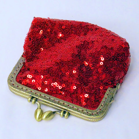 Small red sequin coin purse with brass frame