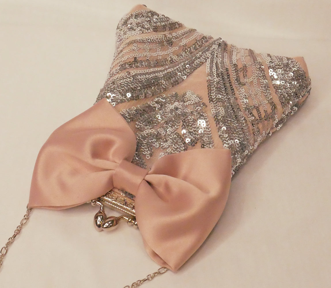 Silver Sequin Pouch Bag With Bow