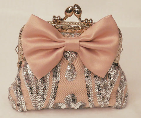 silver sequin and blush pink satin small purse with blush satin bow and silver frame