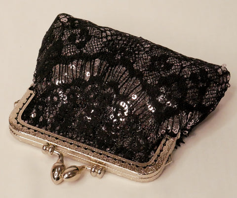 silver sequin small purse with black lace overlay and silver frame