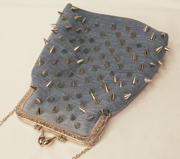 Denim Pouch Bag With Studs