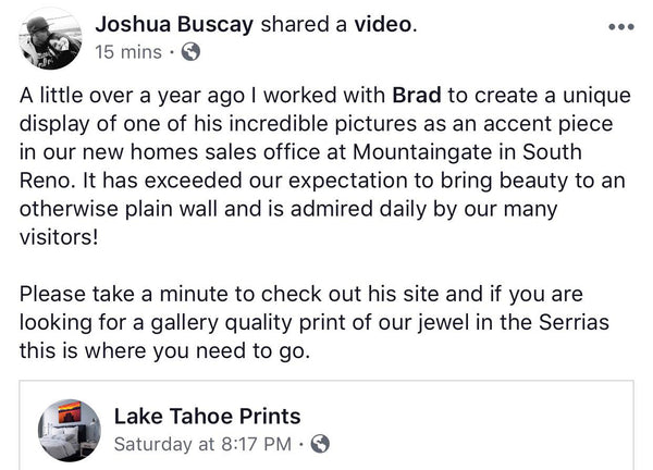 Lake Tahoe Prints Review from Josh