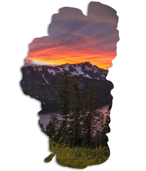 Blinding Light Tahoe Map Cutout Metal Print-Tahoe Map Prints-Lake Tahoe Prints