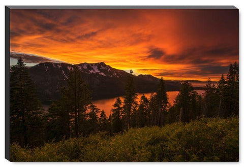 Fiery Skies Over Fallen Leaf Lake-Canvas Gallery Wrapped Print-Lake Tahoe Prints