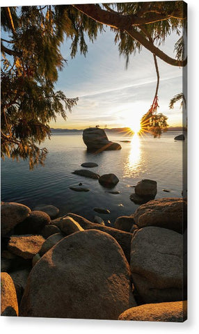 Bonsai Rock Sunburst Vertical - Acrylic Print by Brad Scott