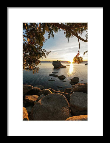 Bonsai Rock Sunburst Vertical - Framed Print by Brad Scott