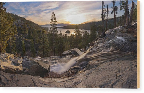 Eagle Falls Morning Glow By Brad Scott - Wood Print