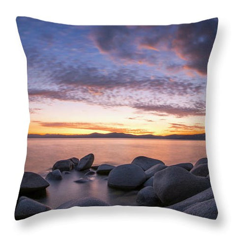East Shore Cove Panorama By Brad Scott - Throw Pillow-Lake Tahoe Prints