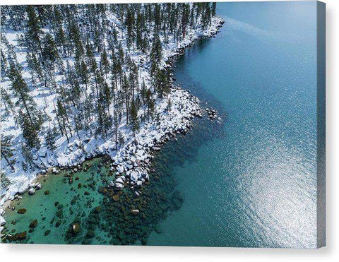 "East Shore Winter Aerial By Brad Scott - Canvas Print-12.000"" x 7.875""-Lake Tahoe Prints"