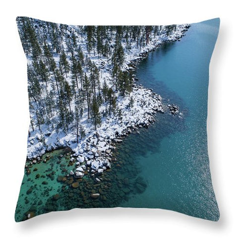 East Shore Winter Aerial By Brad Scott - Throw Pillow-Lake Tahoe Prints