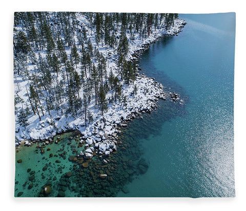East Shore Winter Aerial By Brad Scott - Blanket