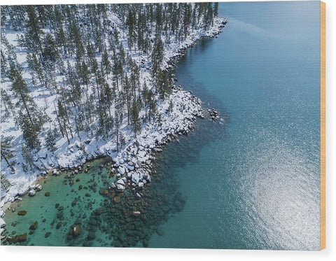 East Shore Winter Aerial By Brad Scott - Wood Print