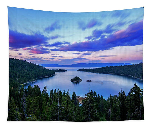 Emerald Bay And Ms Dixie At Sunset By Brad Scott - Tapestry