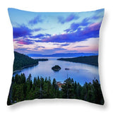 Emerald Bay And Ms Dixie At Sunset By Brad Scott - Throw Pillow-Lake Tahoe Prints