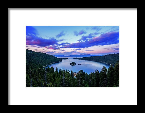 Emerald Bay And Ms Dixie At Sunset By Brad Scott - Framed Print