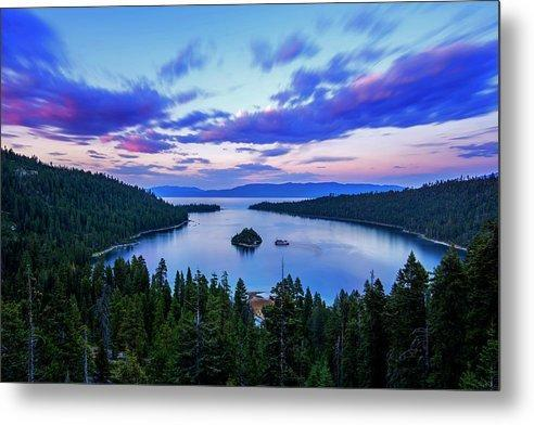 Emerald Bay And Ms Dixie At Sunset By Brad Scott - Metal Print-Metal Print-Lake Tahoe Prints