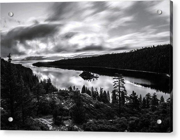Emerald Bay Black And White - Acrylic Print