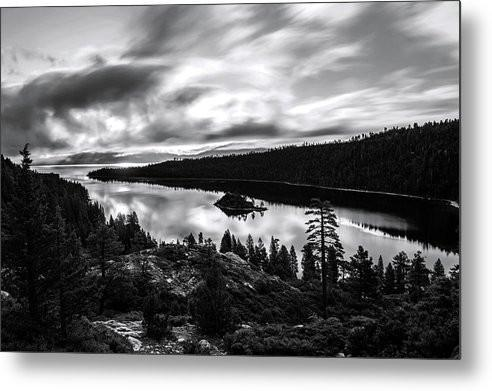Emerald Bay Black And White - Metal Print