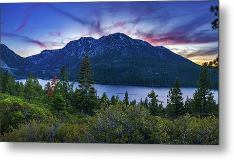 Emerald Bay Dusk By Brad Scott - Metal Print
