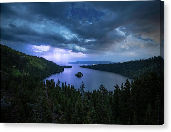 Emerald Bay Electric Skies By Brad Scott - Canvas Print