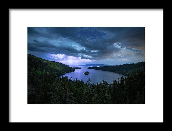 Emerald Bay Electric Skies By Brad Scott - Framed Print
