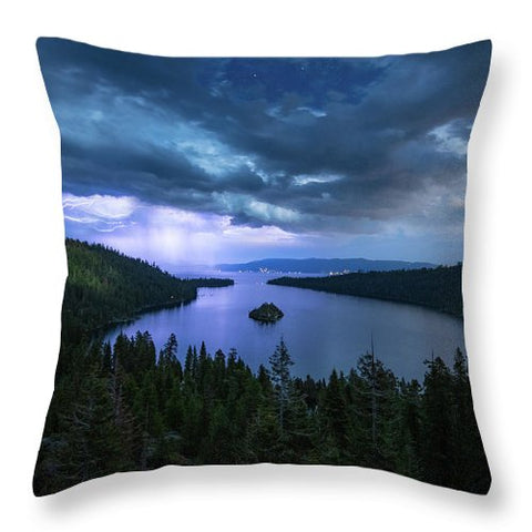 Emerald Bay Electric Skies By Brad Scott - Throw Pillow
