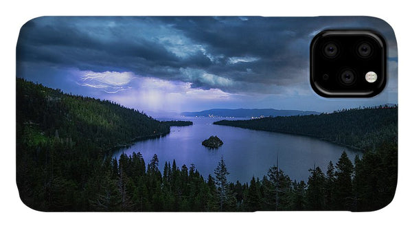 Emerald Bay Electric Skies By Brad Scott - Phone Case
