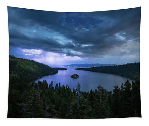 Emerald Bay Electric Skies By Brad Scott - Tapestry