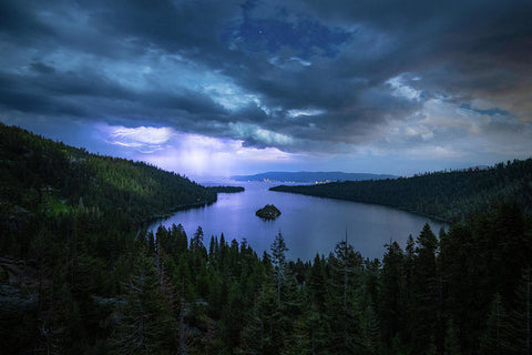 Emerald Bay Electric Skies By Brad Scott - Art Print